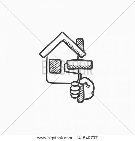 450x470 House Painting Vector Sketch Icon Vector Amp Photo Bigstock