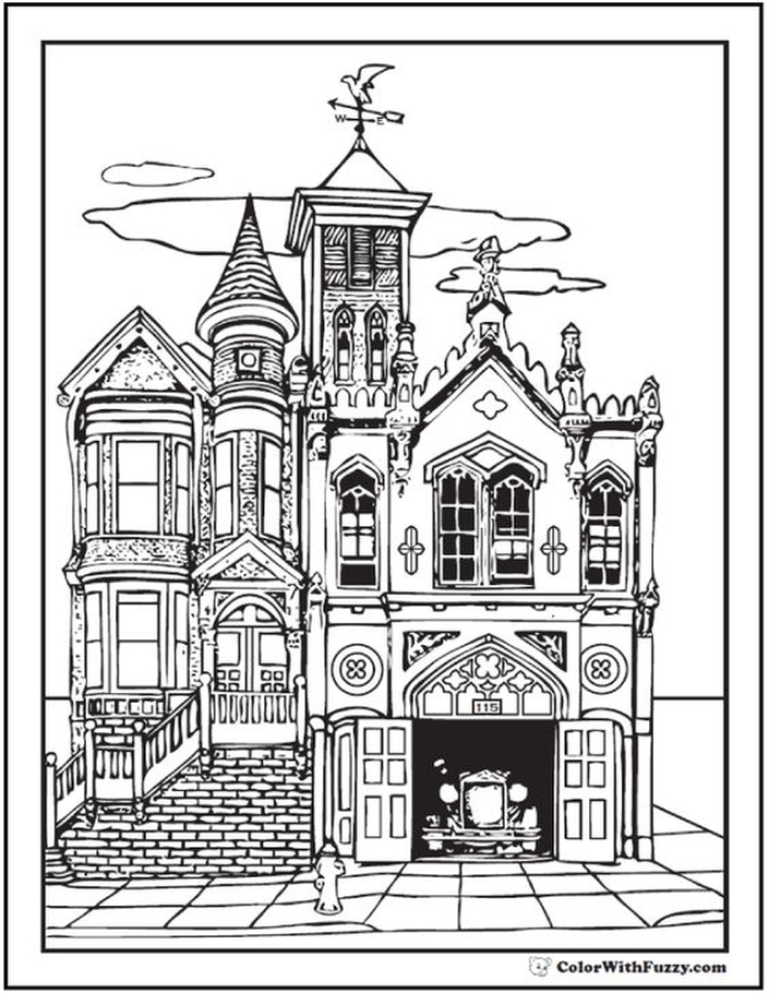 705x910 Old Victorian House Coloring Pages For Grown Ups Coloring Pages
