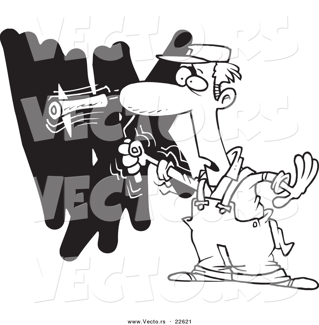 1024x1044 Vector Of A Cartoon House Painter Painting A Wall