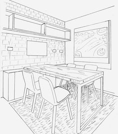 236x268 One Point Perspective Drawing Living Room