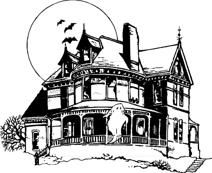 736x604 , Drawings Of Haunted Houses