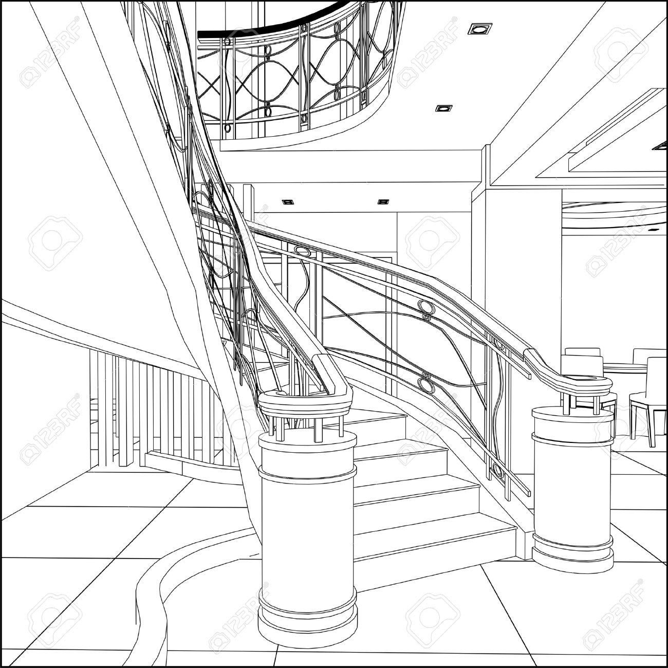 1300x1300 Home Design Spiral Staircase Pencil Drawing Style Medium Spiral