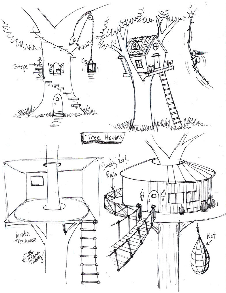 784x1018 Draw Tree House By Diana Huang