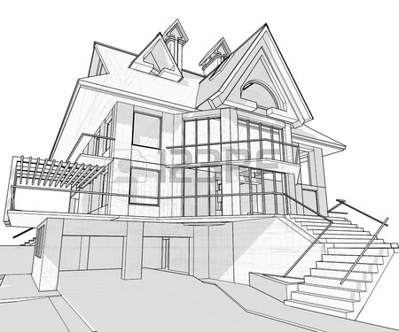 450x375 House Vector Technical Draw Royalty Free Cliparts, Vectors,