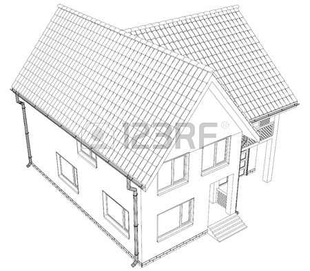 450x394 Sketch Of A House Roof Painted Lines And Curves. Royalty Free