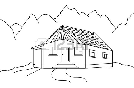 450x296 Vector Country House Black And White Sketch Royalty Free Cliparts