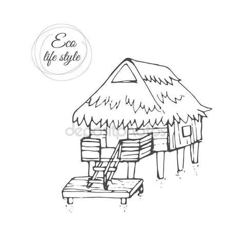 450x450 A Wooden House On The Water With A Thatched Roof And A Long