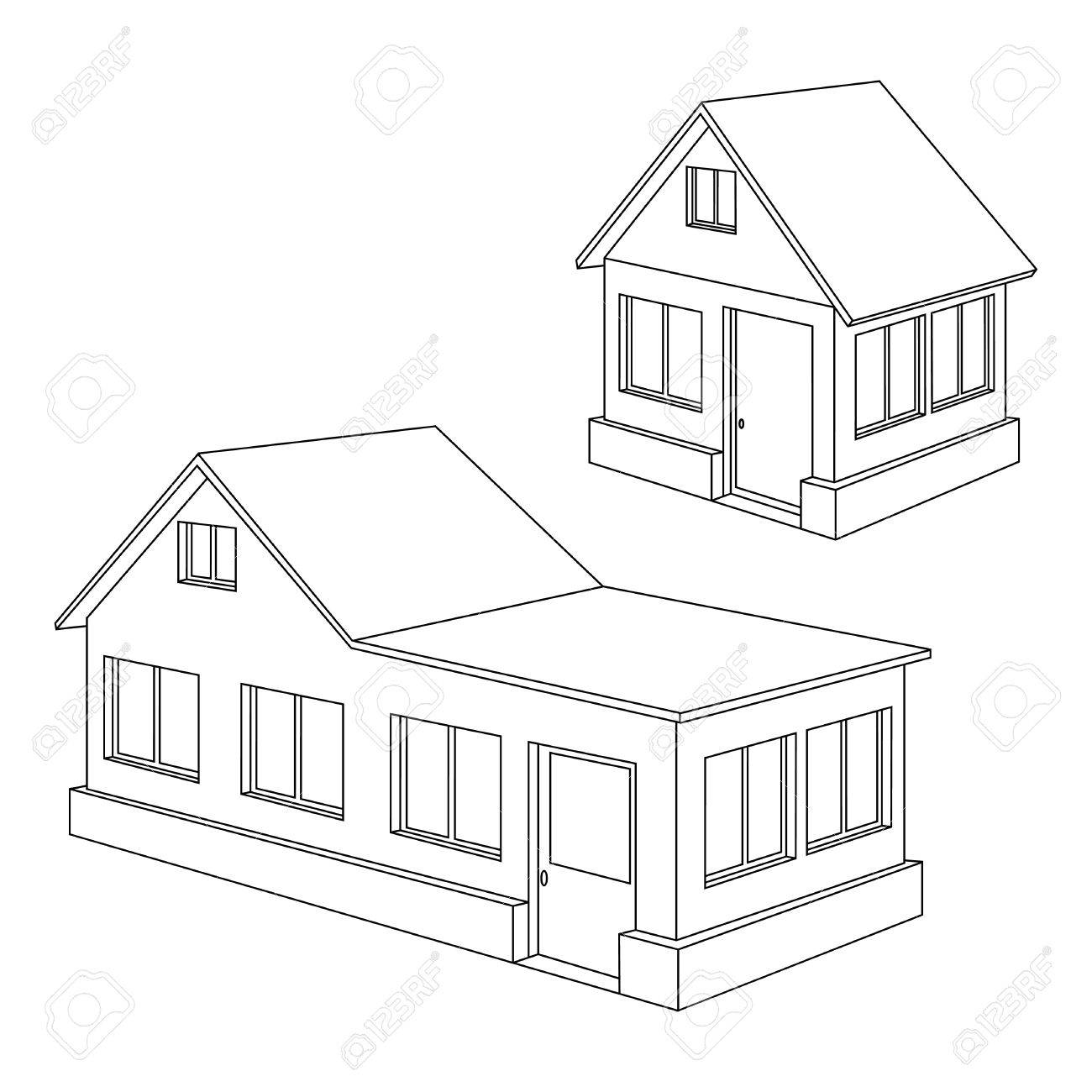 1300x1300 Black Contours Of Two Houses On A White Background. Royalty Free