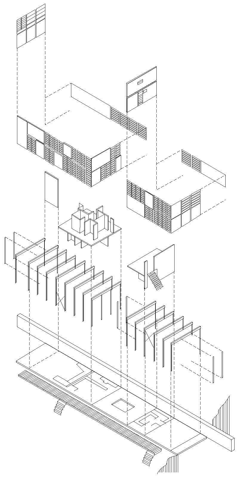 811x1600 Eames House Exploded Axonometric Of Eames House