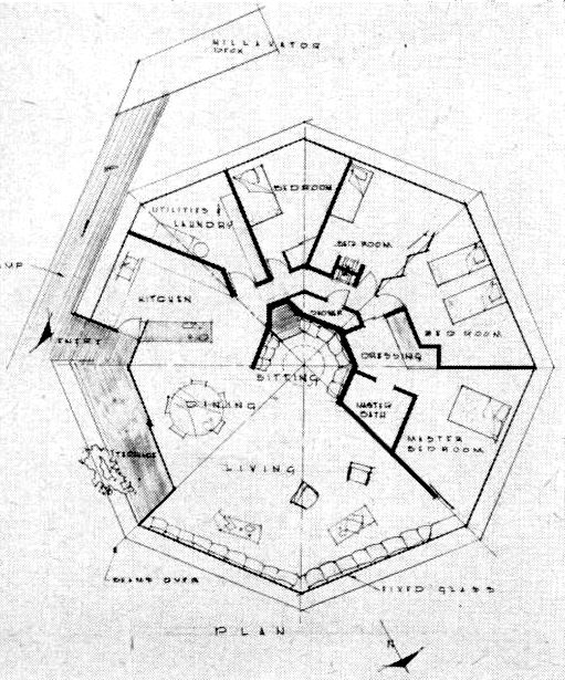 511x615 Floor Plan Of The Chemosphere House In Los Angeles Taken From P70