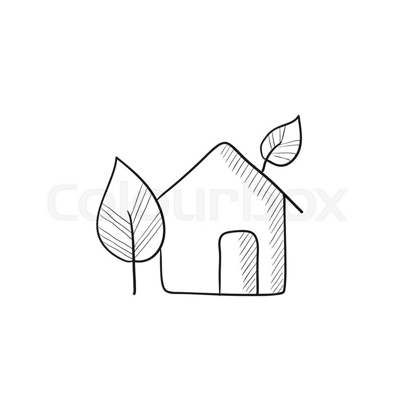 800x800 Eco Friendly House Vector Sketch Icon Isolated On Background. Hand