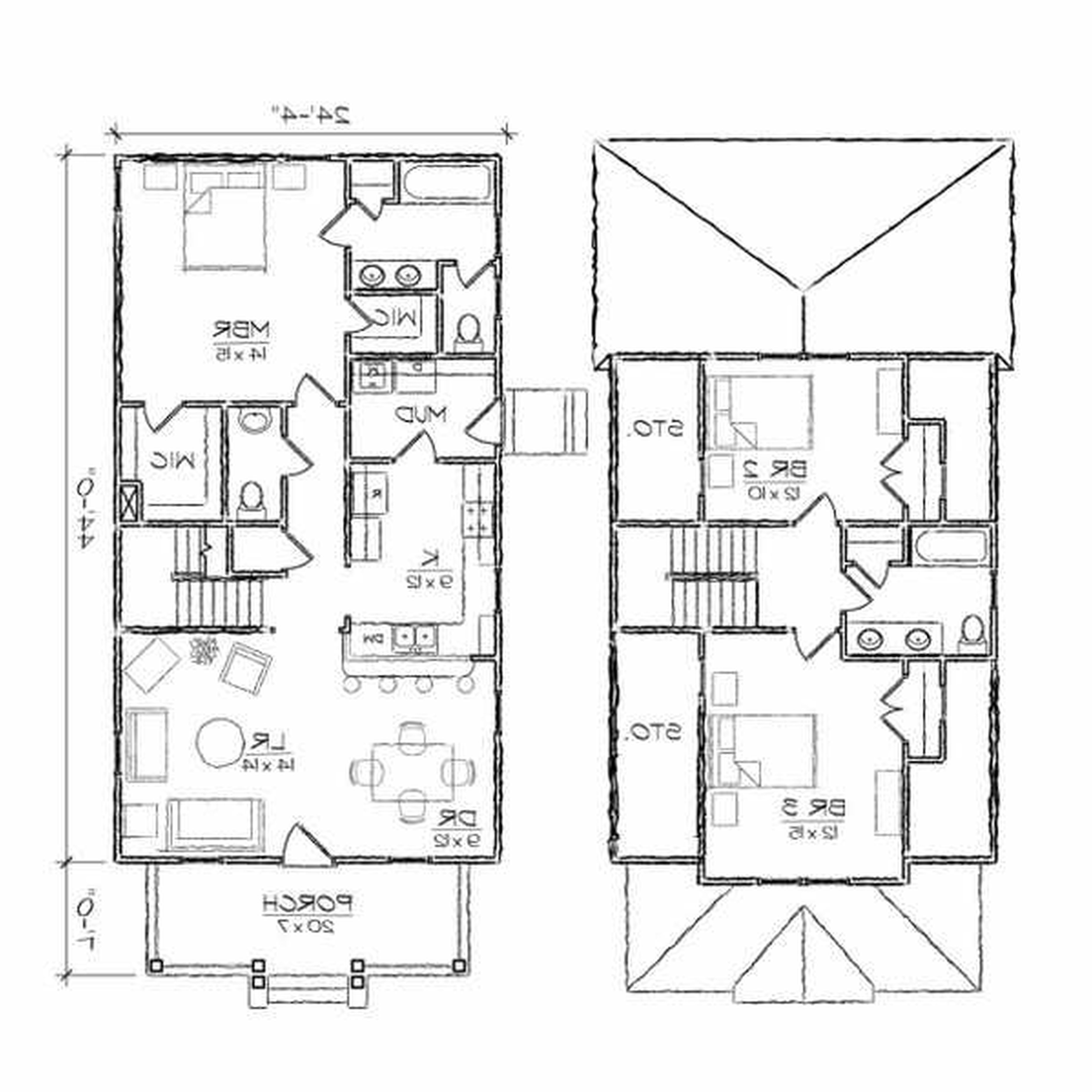 5000x5000 simple modern house sketch - Home Plan Sketch