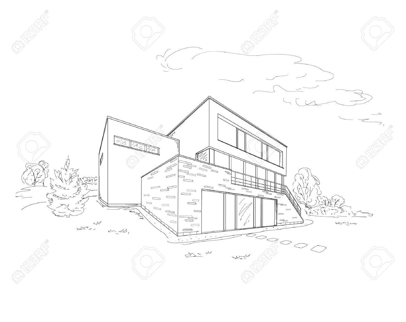 1300x1029 Modern House Drawing Sketch Modern House