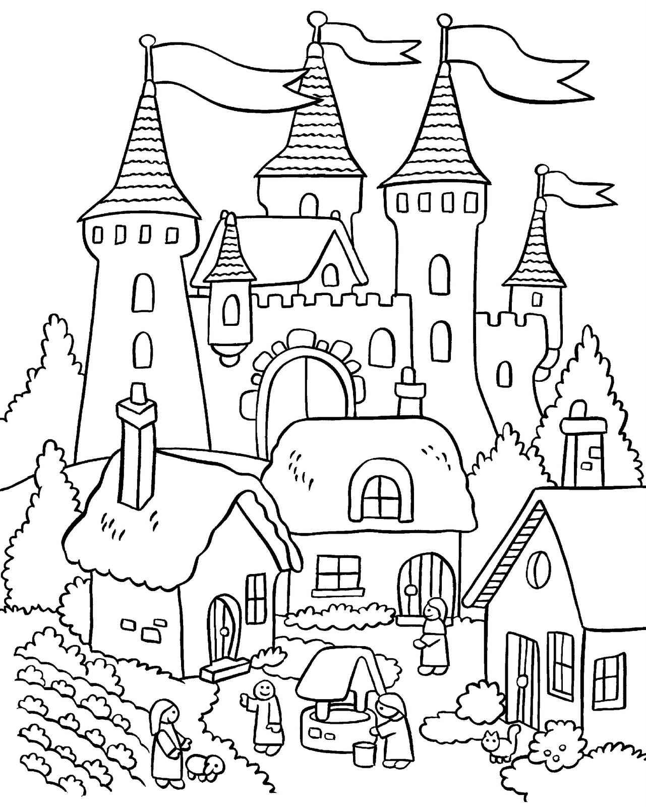 Great 1281x1600 Coloring Book Christmas House Pages Collection Printable The