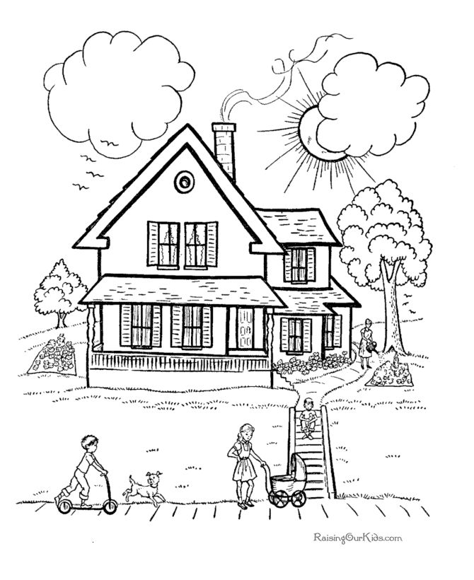 670x820 Pictures Drawing Of House For Kids To Color