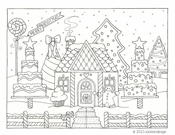 570x441 Coloring Pages Decorative Gingerbread House