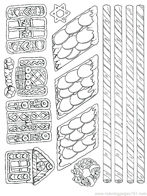 606x805 Gingerbread House Coloring Page Linert Illustration
