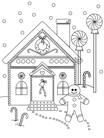 360x480 Gingerbread Man Near The House Coloring Page Free Printable