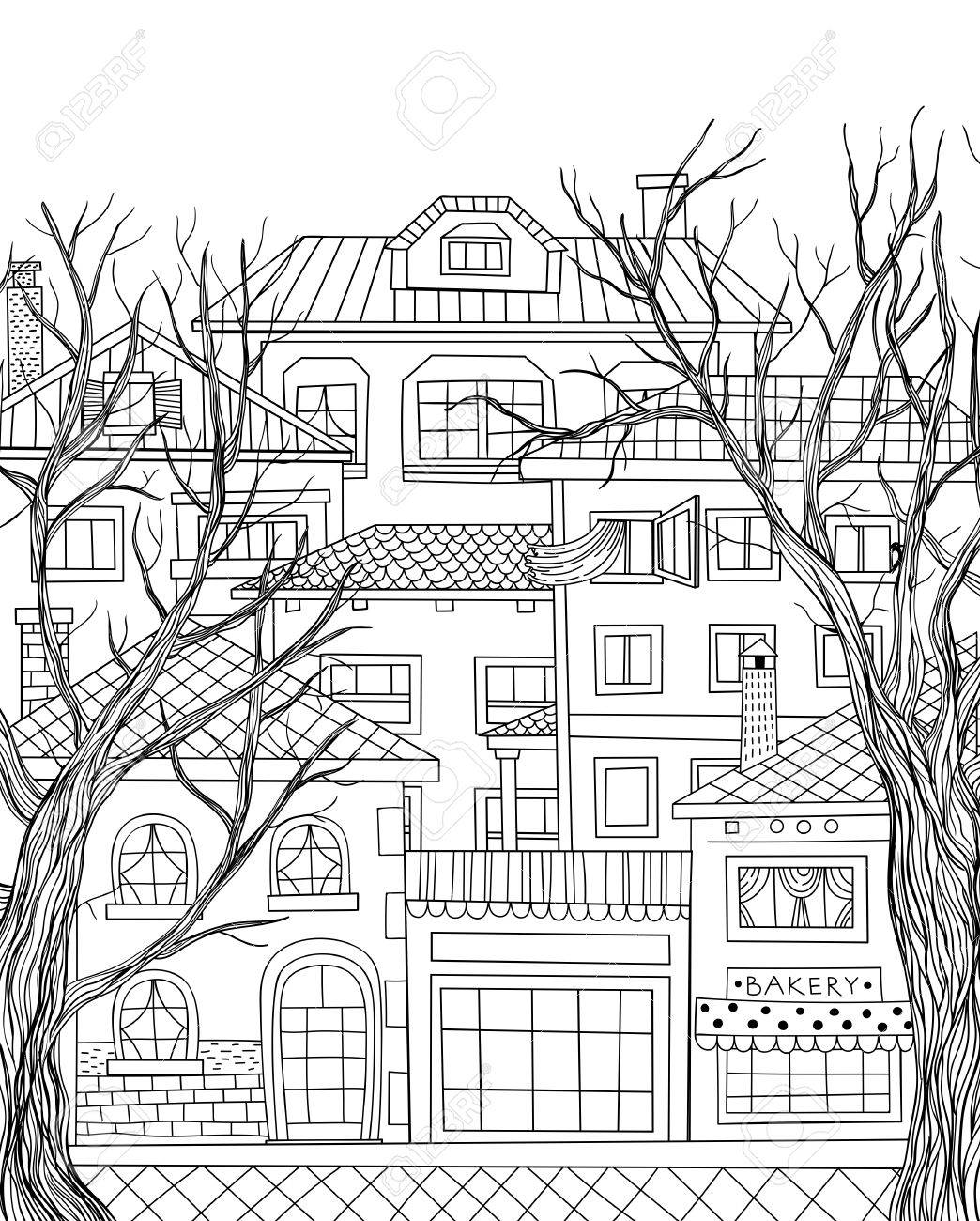 1044x1300 Hand Drawn Houses And Two Big Trees. Town Line Drawing