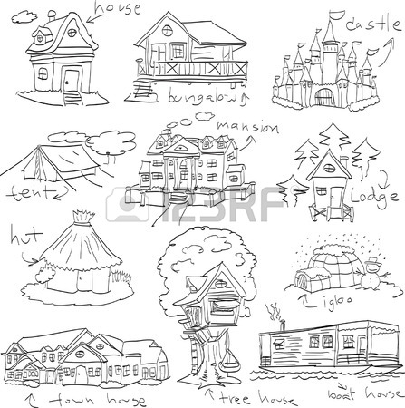 447x450 Old Town. Cartoon Hand Drawing Houses. Vector Illustration Royalty