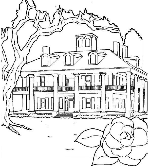 600x674 Plantations House In Houses Coloring Page