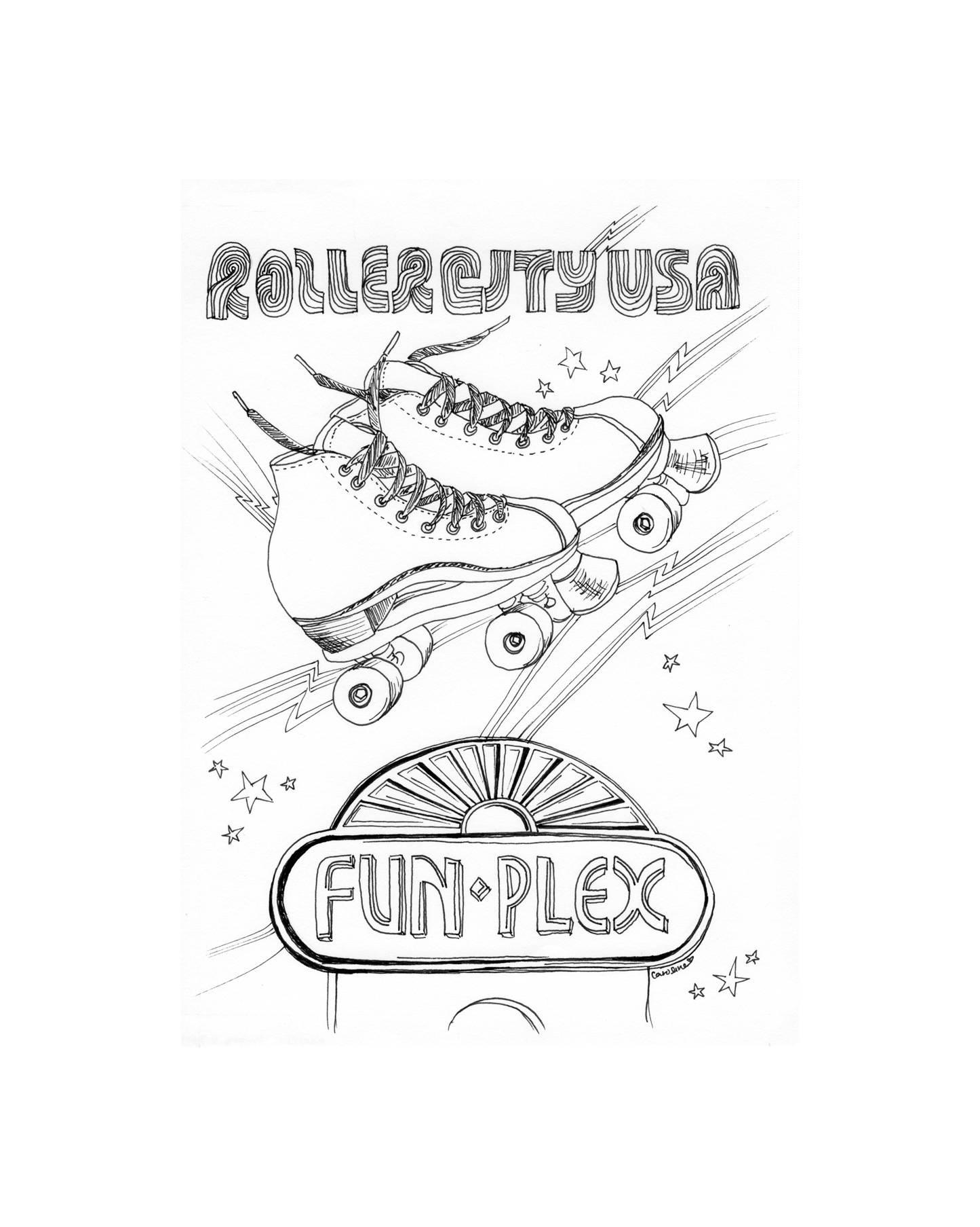 1445x1807 Fun Plex Houston Illustration Framed Art Houston Drawings