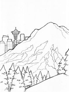 236x316 Seattle Skyline Outline