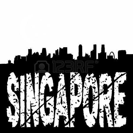 450x450 Singapore Skyline With Grunge Text Illustration Stock Photo