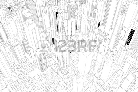 450x300 Architectural Drawing Of City With Skycrapers From Above Stock