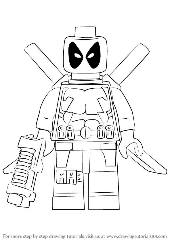 598x844 Learn How To Draw Lego Deadpool (Lego) Step By Step Drawing