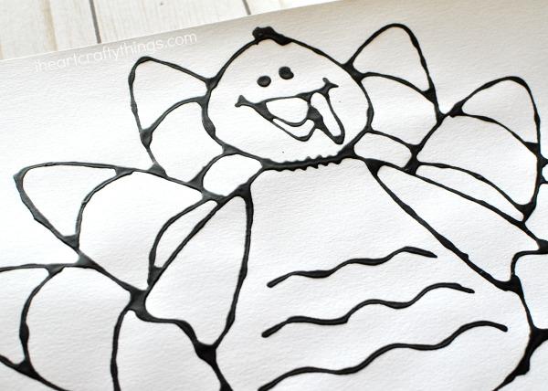 600x428 Black Glue Turkey Art Project I Heart Crafty Things