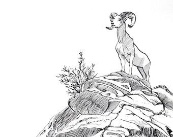 340x270 Howler Monkey Original Ink Drawing Inktober Noisy Wildlife