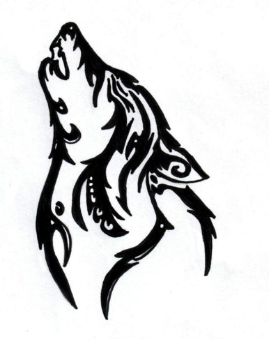 386x486 Tribal Howling Wolf By Silent Howl
