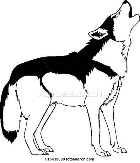 446x520 Clipart Of , Animal, Coyote, Howl, Southwest, Wild, Wolf