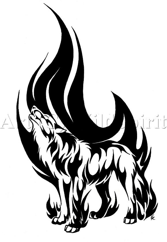 580x842 Drawn Howling Wolf Wild Wolf