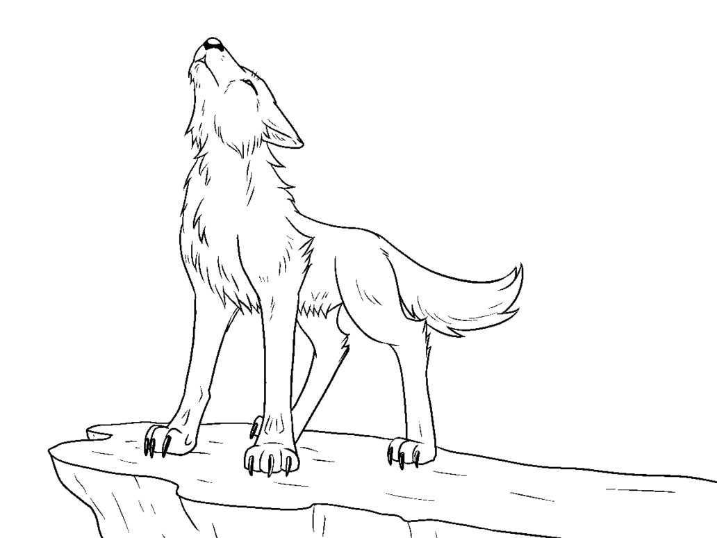 1032x774 Free Howling Wolf Lineart By The Crow Faced Wolf