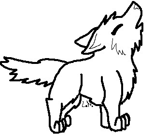 319x285 Free Howling Wolf Lineat! Paint Friendly By Lalaloraa