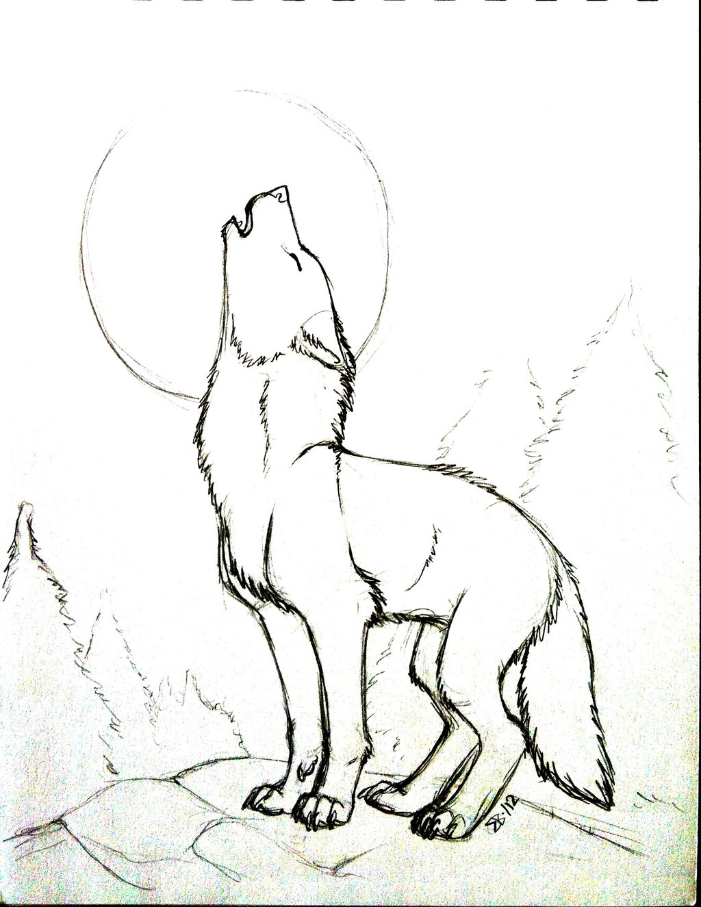 1024x1325 How To Draw A Howling Wolf