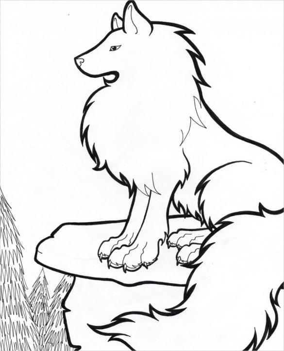 585x722 Wolf Drawing Free Printable Pdf, Jpeg Format Download