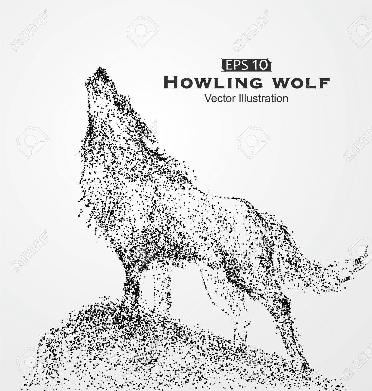 1235x1300 Howling Wolf, Particles, Vector Illustration. Royalty Free