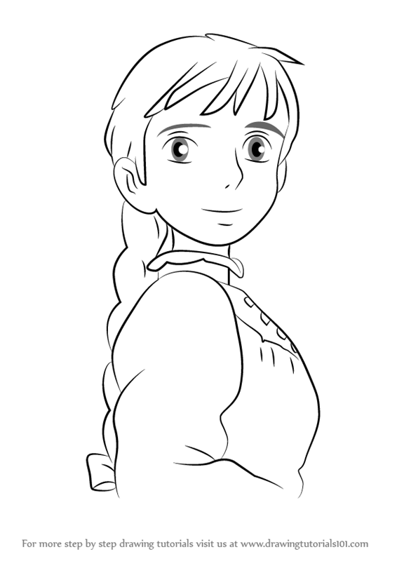 566x800 Step By Step How To Draw Sophie From Howl's Moving Castle