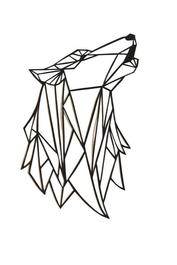 570x853 Original Wolf Papercut Art 7x5.5 Geometric Paper Original