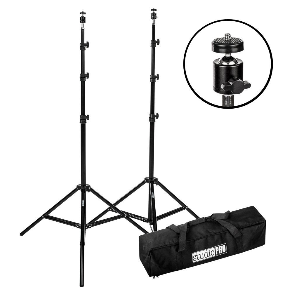1000x1000 Studiopro Set Of Two 7'6 Photo Video Light Stands Wall Head
