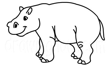 457x286 Coloring Pages Marvelous Hippopotamus Drawings Hippo 8 How