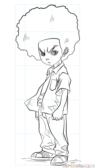 327x575 How To Draw Huey Freeman Step By Step Drawing Tutorials