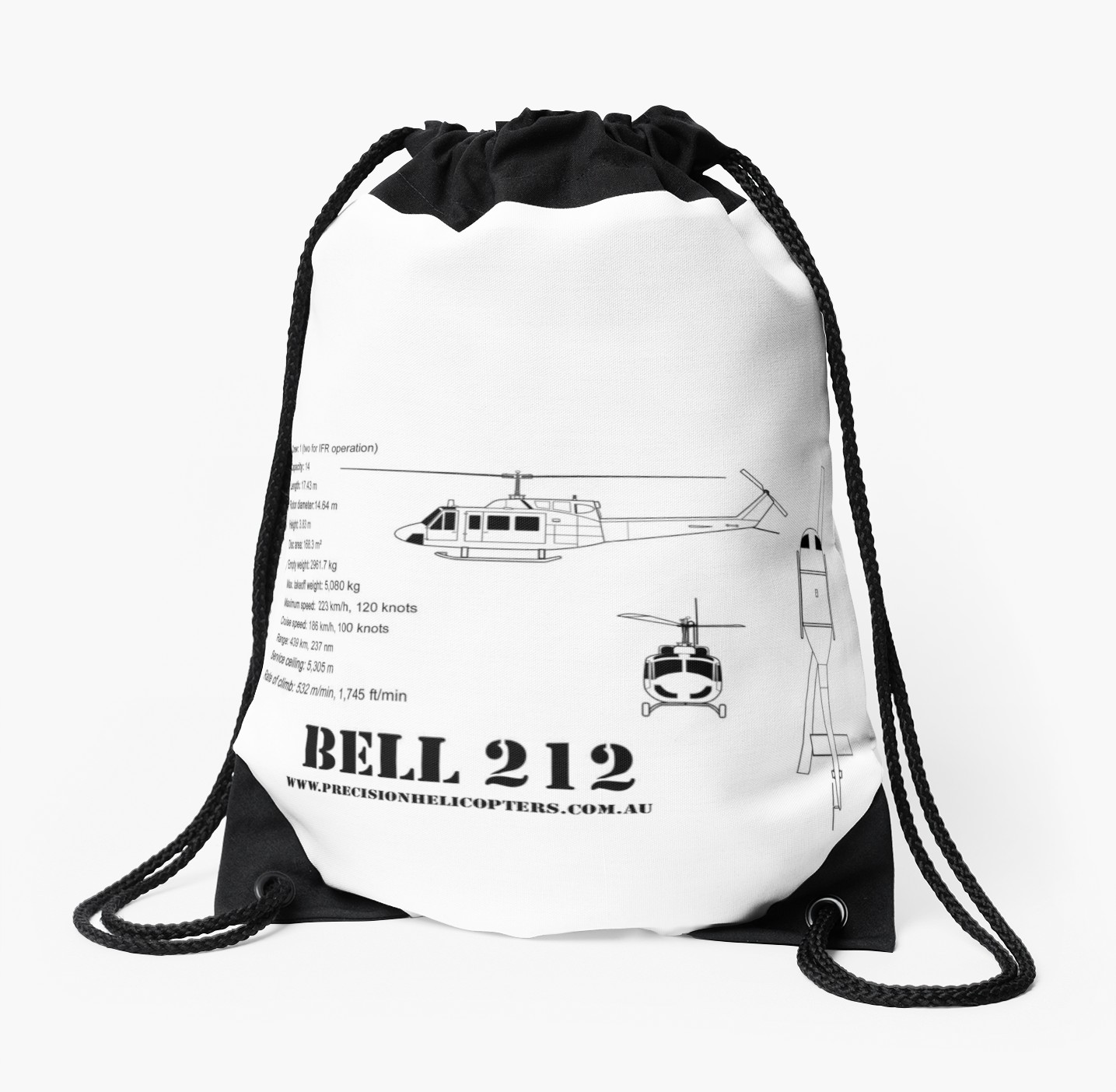 1435x1404 Bell 212 Twin Huey Helicopter Drawstring Bags By Precisionheli