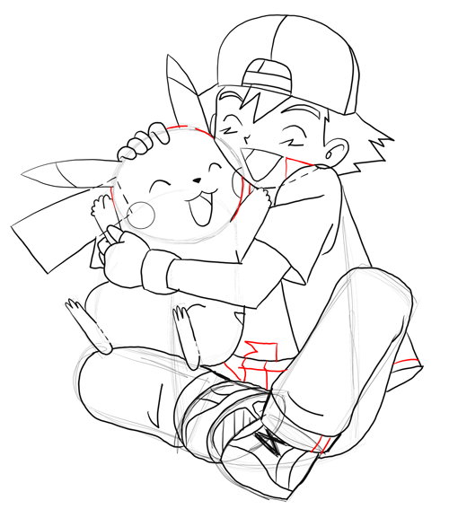 500x567 How To Draw Ash Hugging Pikachu With Easy Steps Drawing Tutorial