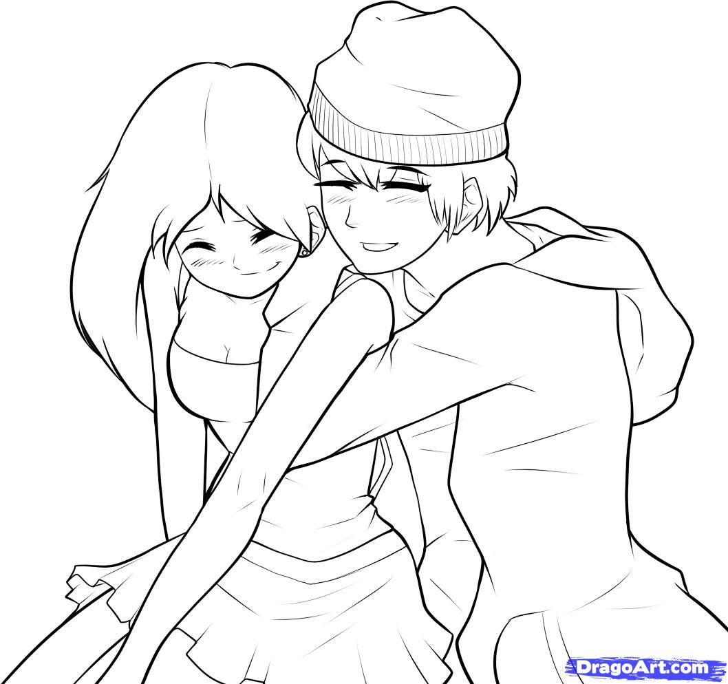 1058x994 A Boy And A Girl Hugging Drawings Step By Step