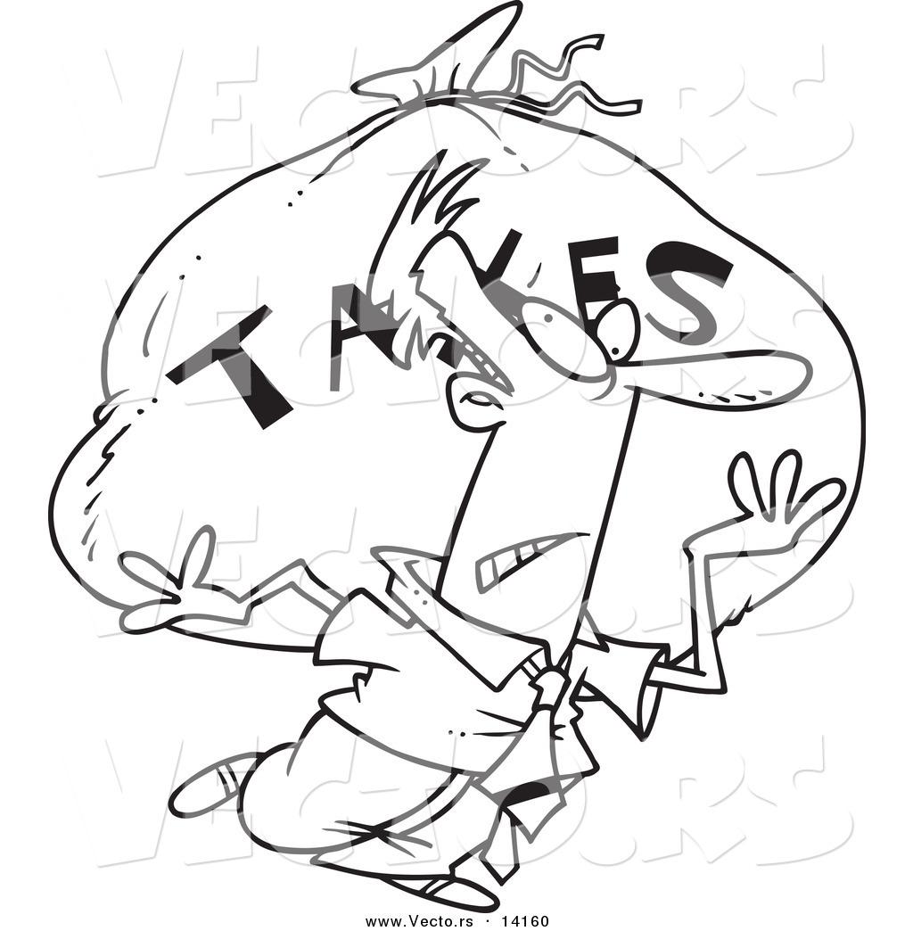 1024x1044 Vector Of A Cartoon Businessman Carrying A Huge Bag Of Money