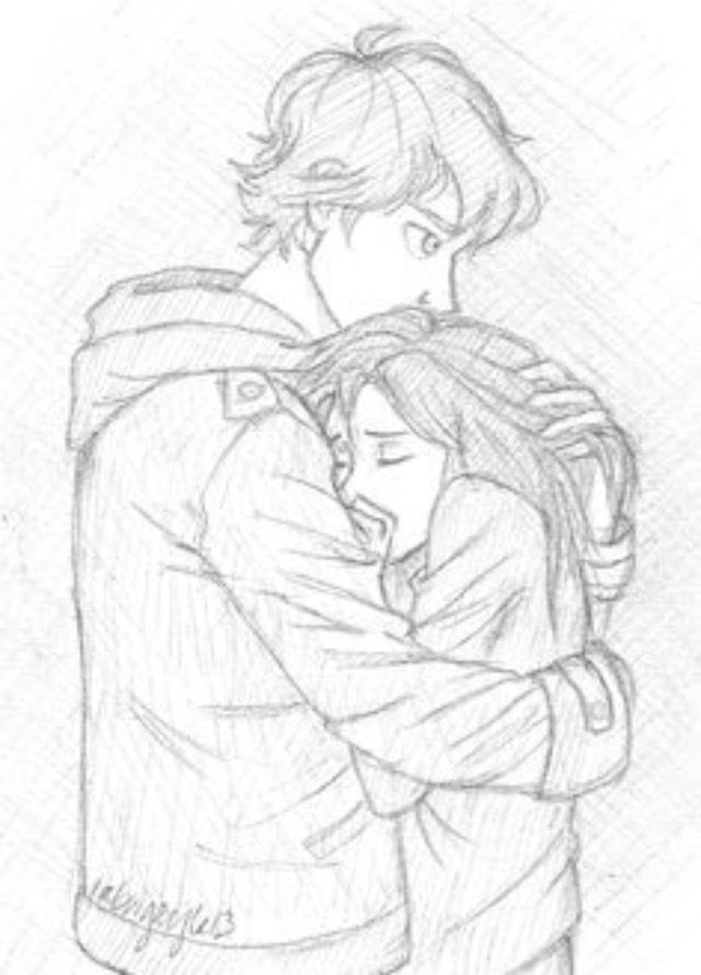 Hugging Couple Drawing